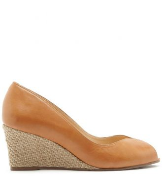 Scarpin Couro Peep Toe Anabela Natural Wood - Arezzo