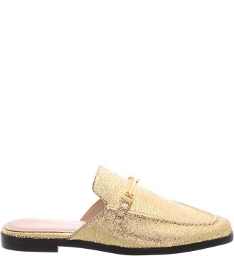 Mule Flat Vintage Gold Little Metal   AREZZO