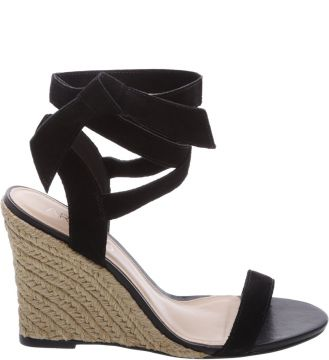 Sandália Suede Lace Up Savannah Preto   AREZZO