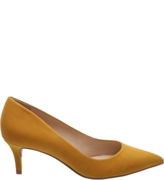 Scarpin Nobuck Salto Kitten Basic Old Yellow   AREZZO