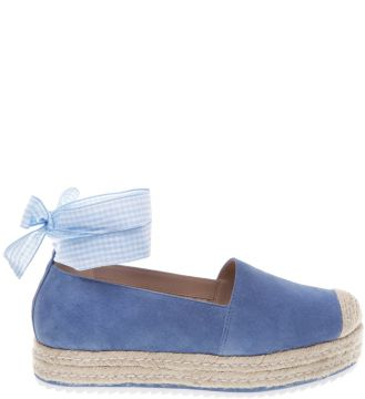 Alpargata Nobuck Lace Up Bluebird   AREZZO
