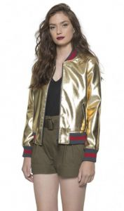 Jaqueta Bomber Feminina Ellus Second Floor Leather Metaliza