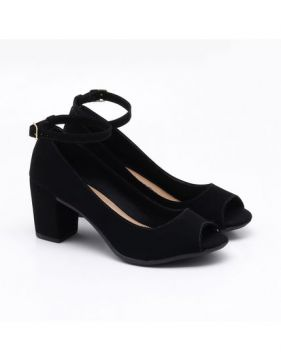 Peep Toe Charlote Shoes Nobuck Preto