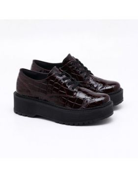 Oxford Quiz Flatform Croco Marsala