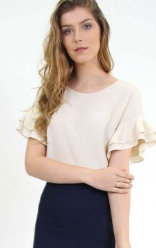 Blusa Mangas Oversized Babados Caqui - PA Concept