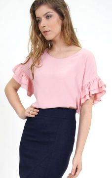 Blusa Mangas Oversized Babados Rosa - PA Concept