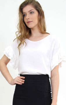 Blusa Mangas Oversized Babados Off White - PA Concept