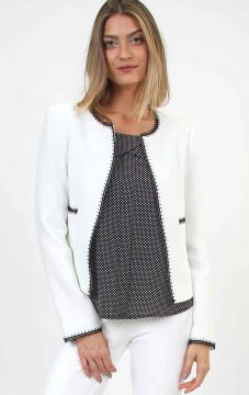 Blazer Curto Tweed Bicolor Renda Off White - PA Concept
