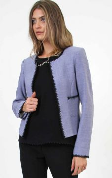 Blazer Curto Tweed Bicolor Renda Azul - PA Concept