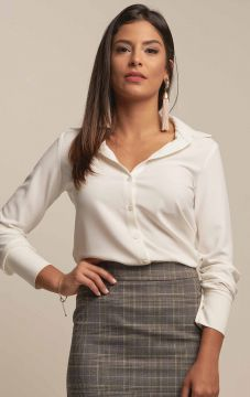 Camisa Clássica Crepe Off White - PA Concept