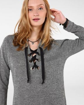 Blusa Fios Metalizados Lace-up - Pool Trendy