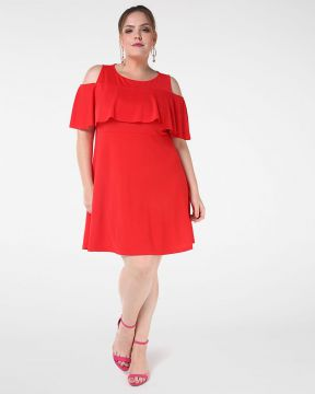 Vestido Open Shoulder Babado - Plus Size Urban