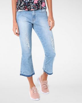 Calça Jeans Flare Cropped Destroyed - Pool Trendy