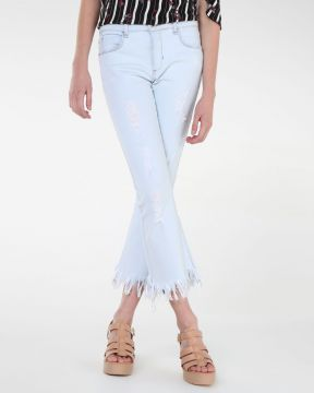 Calça Cropped Flare Destroyed - Pool Trendy