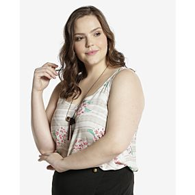 Blusa Viscose Floral - Plus Size Casual