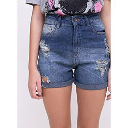 Short Hot Pants Jeans com Barra Dobrada - Youcom