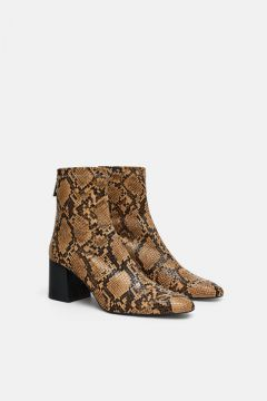 Bota De Salto Com Estampa Animal - Zara