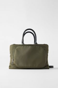 Bolsa City Bag De Nylon Com Zíperes - Zara