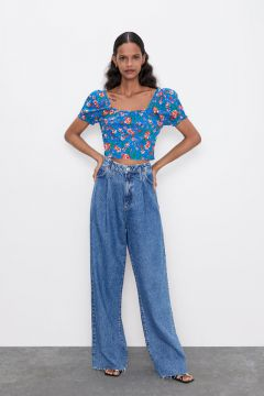 Top Cropped Estampado - Zara