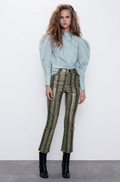 Calça Mini Flare Com Estampa De Serpente - Zara