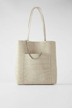 Bolsa Tote Bag Com Corrente E Estampa Animal - Zara