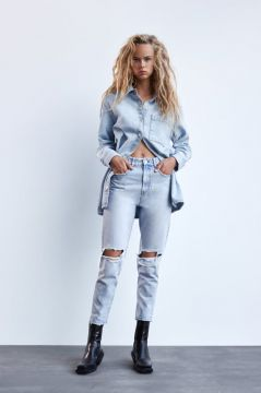 Jeans Mom Fit Com Rasgos - Zara