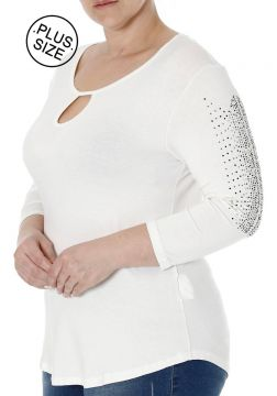 Blusa Autentique Manga 3/4 Plus Size Feminina - Off White