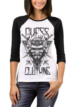 Camiseta Raglan Chess Clothing Feminina - Preto e Branco