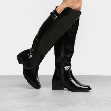 Bota Over the Knee Via Marte Fivela Feminina - Preto