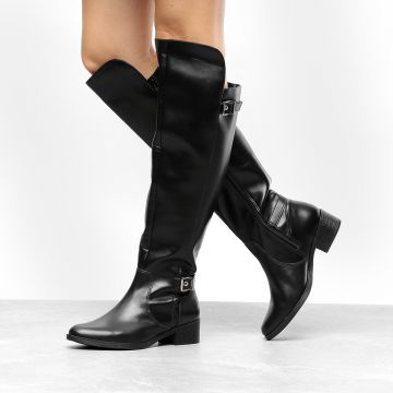 Bota Over the Knee Via Marte 2 Fivelas Feminina - Preto