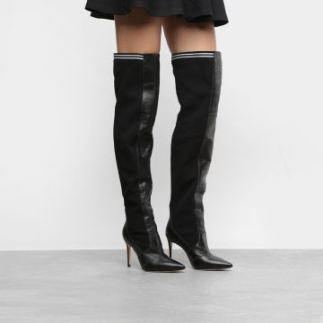 Bota Couro Over The Knee Raphaella Booz Salto Fino Feminina