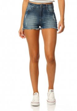 Short Jeans Denim Zero Pin Up com Puídos - Jeans