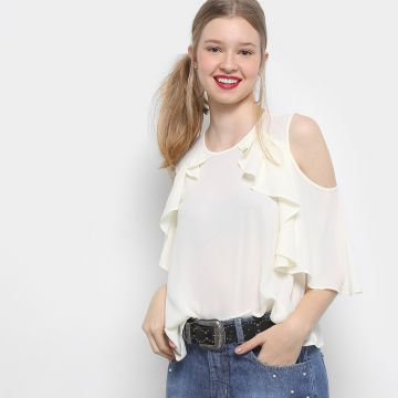 Blusa Drezzup Open Shoulder Babados Feminina - Off White