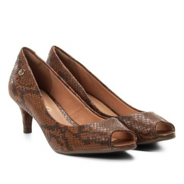Peep Toe Via Uno Salto Baixo Animal Print Cobra - Marrom
