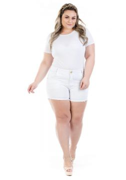 Short Jeans Curto Munich Color Plus Size Feminina - Branco