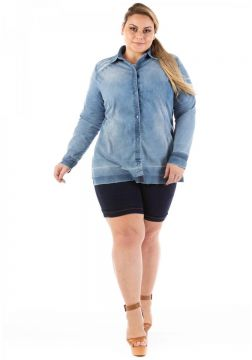 Camisa Jeans Confidencial Slim Destroyed Plus Size Feminina
