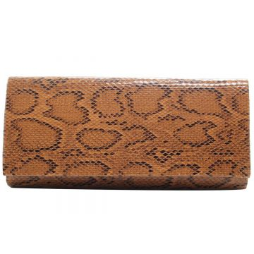 Bolsa Clutch Animal Print Cobra - Caramelo