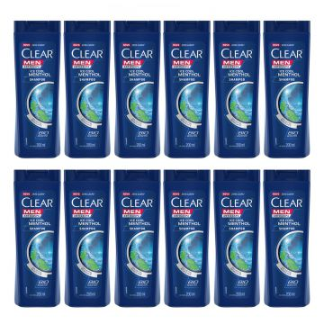 Kit com 12 Shampoo Clear Ice Cool Menthol 200ml - Incolor