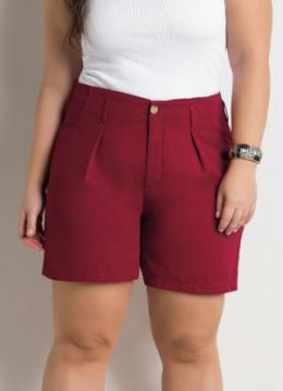 Short Amplo Bordô Plus Size