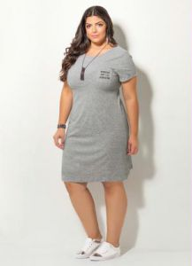 Vestido com Bordado Quintess Mescla Plus Size