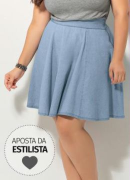 Saia Jeans Evasê Quintess Plus Size