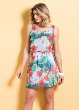 Vestido de Chiffon Quintess Estampa Tropical