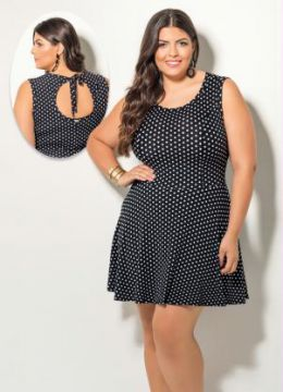 Vestido Evasê Quintess Estampa de Poá Plus Size