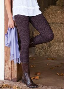 Legging Montaria Cós Largo Animal Print Marrom