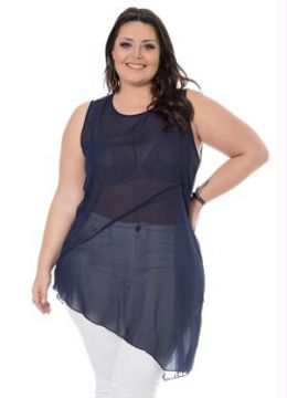 Regata Assimétrica Azul Miss Masy Plus
