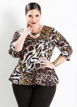 Blusa Peplum Manga 7/8 Animal Print Plus Size