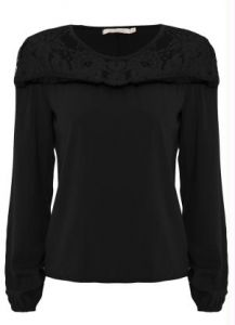 Blusa Viscose com Renda Endless Preto
