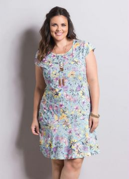 Vestido Floral Candy Color Marguerite Plus Size