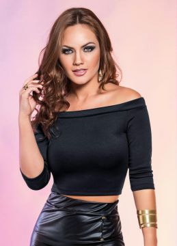 Top Cropped Preto Mangas 3/4
