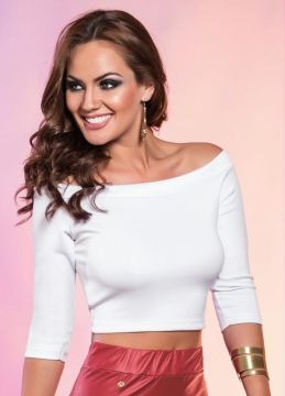 Top Cropped Branco Mangas 3/4